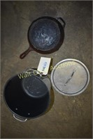 Large Cooking Pot and Iron Skillet