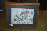 Framed Art Fruit and Flowers approximately