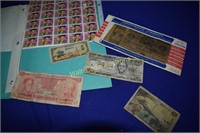 Elvis Stamps 1993 and Foriegn Currency US Replica