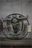 """Cow skull wall art metal approximately 19""""x20"""""""