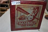 Baseball cards in binder