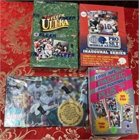 LOT OF 4 BOXES OF COLLECTABLE FOOTBALL CARDS (J)