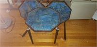 Vintage Wood-Framed Tables Glass Top Need Repairs