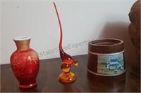 Glass Bird, Vase, & Teleflora Container
