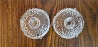 Etched Glass Candlestick Holders