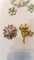 Metal Flower Pins & Clip-on Earrings