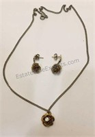 Rose Fashion Necklace & Earrings