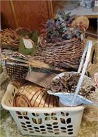 Assorted Wicker Basket Decor Lot