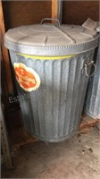Pair of Galvanized Trash Cans