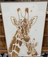 NEW WMC FRAMED GLASS ART OF GIRAFFES ($139.95)