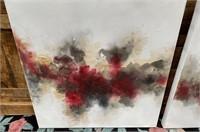 43 - NEW WMC PAIR OF RED/BLACK CANVAS ART