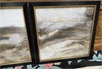 43  - NEW WMC GOLD/BLACK/WHITE PAIR OF FRAMED ART