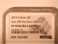 2019 Roosevelt 10 Cents .999 Silver, Proof
