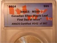 2014 Maple Leaf 5 CAD .9999 Silver