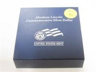 2009 Comm. $1, Silver 1 Dollar Abraham Lincoln Bic