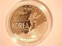 1991 Comm. Silver 1 Dollar Korean War Memorial