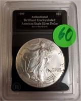 "1999 - SILVER AMERICAN EAGLE ""UNCIRCULATED"" (60)"