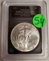 "2018 - SILVER AMERICAN EAGLE ""UNCIRCULATED"" (54)"