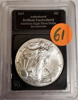 "2017 - SILVER AMERICAN EAGLE ""UNCIRCULATED"" (61)"