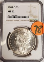 "1884 ''O"" ""MS62"" - MORGAN SILVER DOLLAR (78)"