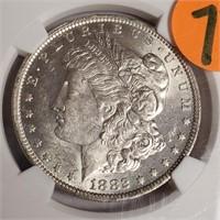 """1882 ''O"""" """"AU58"""" - MORGAN SILVER DOLLAR (77)"""