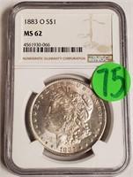 "1883 ''O"" ""MS62"" - MORGAN SILVER DOLLAR (75)"