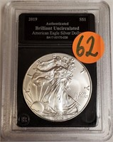 "2019 - SILVER AMERICAN EAGLE ""UNCIRCULATED"" (62)"