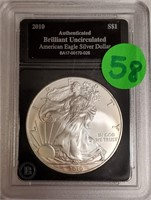 "2010 - SILVER AMERICAN EAGLE ""UNCIRCULATED"" (58)"