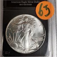 "1986 - SILVER AMERICAN EAGLE ""UNCIRCULATED"" (63)"