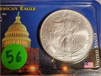 "2000 - SILVER AMERICAN EAGLE ""UNCIRCULATED"" (56)"