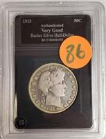 "1913 ""D"" BARBER SILVER HALF DOLLAR (86)"