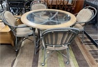 714 - BEAUTIFUL ROUND METAL/WOOD TABLE W/4 CHAIRS
