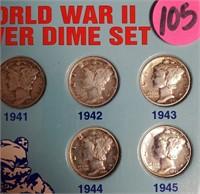 WORLD WAR II SILVER DIME SET (105)