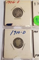 LOT OF 4 SILVER BARBER DIMES (93)