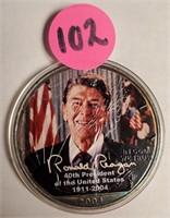 RONALD REAGAN COLORIZED COIN  (102)