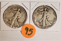 1944&1945 SILVER WALKING LIBERTY HALF DOLLARS (95)