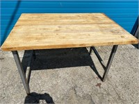 "53"" x 36.5"" Custom Butcher Block Table W/ S/S"