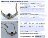 14KT YELLOW GOLD 1.55CTS SAPPHIRE AND .85CTS DIA.