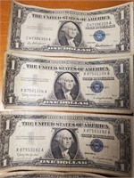 LOT OF 10 SILVER CERTIFICATES $1 NOTES (112)