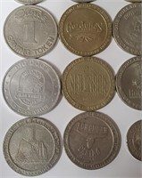 LOT OF MIXED CASINO GAMING TOKENS (135)