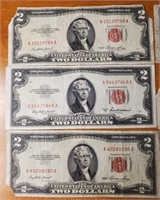 LOT OF 6 RED SEAL $2 DOLLAR NOTES (137)