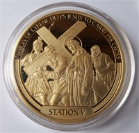 GOLD LAYERED W/SWAROVSKI PROOF CROSS COIN (144)