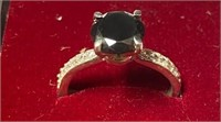 349 - BLACK DIAMOND 925 SILVER RING W/ AGI CERT
