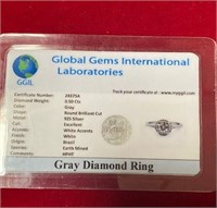 349 - GRAY DIAMOND RING 925 SILVER W/ CERT
