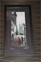 PRAGUE PRINT OF PAINTING - SIGNED, 21x11