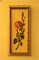 SET OF 2 FRAMED WOOL - HAND EMBROIDERIES 18x8.5