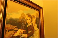 BEAUTIFUL LARGE FRAMED HAND EMBROIDERY BOY & GIRL