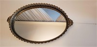 VINTAGE VANITY MIRROR/TRAY WITH BRASS FRAME