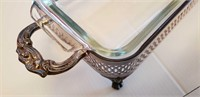 """SILVER PLATED STAND WITH CASSEROLE DISH, 9"""" X 6.5"""""""