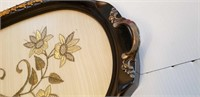 SILK EMBROIDERED WOOD SERVING TRAY, GLASS COVER